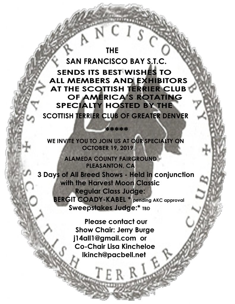 SF Bay Scottish Terrier Club announces its 2019 Specialty on October 19, 2019